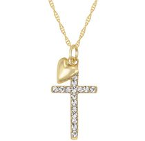 "10Kt Yellow Crystal Cross with Puffed Heart Pendant on 18"" Gold Filled Chain"