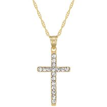 "10Kt Yellow Crystal Cross  Pendant on 18"" Gold Filled Chain"