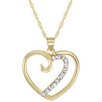 "10Kt Yellow Crystal Heart Pendant on 18"" Gold Filled Chain"