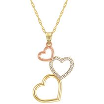 "10Kt Tri Colour Triple Heart Pendant on 18"" Gold Filled Chain"