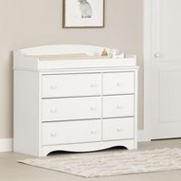 South Shore Angel Changing Table with 6 Drawers Pure White