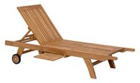 Zuo Modern Outdoor 1-Piece Teak Natural Starboard Chaise Lounge