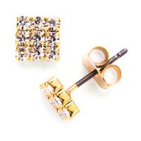 Brass with 14kt Yellow Gold Plated Crystal Stud Earrings