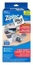 Ziploc Space Bag Vacuum Bags Variety Pack, 6 Bags (2 Medium, 2 Large, 1 Extra Large Flat bags, and 1 Travel bag)