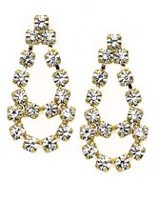 14K Yellow Gold Plated Crystal Drop Earrings
