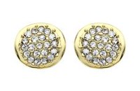 Brass and 14kt Gold Plated Curved Crystal Stud Earrings