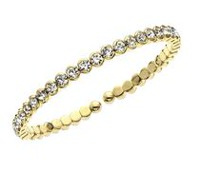 Brass and 14kt Gold Plated Single Honeycomb Crystal Cuff Bracelet