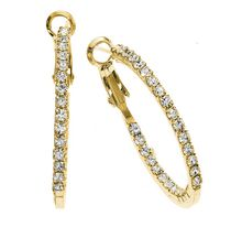 Brass 30mm Gold Plated Single Row Inside Out Crystal Earrings