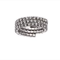 Brass White Rhodium Plated Crystal Three Row Ring