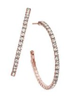 Brass 35 mm Rose Plated J-Hoop Earrings with Crystal