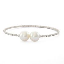 Brass and Rhodium Plated Single Row Simulated Pearl and Crystal Bangle