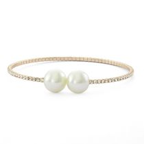 Brass and 14KT Gold Plated Single Row Simulated Pearl and Crystal Bangle
