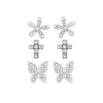 Brass and Rhodium Plated 3 Piece Earring Set