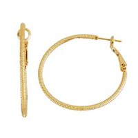 Brass and 14kt Gold Plated Diamond Cut 2mm X 40mm Hoop Earringss