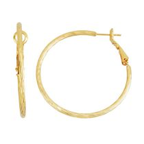 Brass and 14kt Gold Plated Twisted Diamond Cut 2mm X 40mm Hoop Earringss