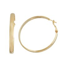 Brass and 14kt Gold Plated Polished 5mm X 50mm Flat Tube Hoop Earringss