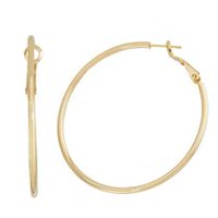 Brass and 14kt Gold Plated Polished 2mm X 50mm Hoop Earringss