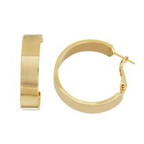 Brass and 14kt Gold Plated Polished 7mm X 30mm Flat Tube Hoop
