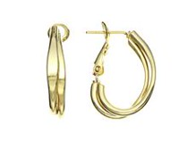 14K Yellow Gold Plated 2.5mm Double Strand Small J Hoop Earrings