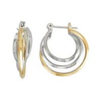 14K Yellow Gold & Rhodium Plated Two-Tone Triangle Three Tube Small Interlaced Hoop Earrings