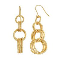 Brass and 14KT Gold Plate DC Multi Link Drop Earrings