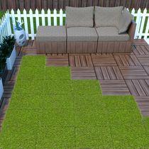 """Ottomanson Evergreen Artificial Turf Interlocking Grass Tiles, 12"""" x 12"""", 6 Pack, Green"""