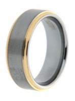 Men's Tungsten 8 mm Laser Polished Gold Plated Ring 11