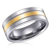 Men's Tungsten 8mm Polished Gold Plated Ring 12
