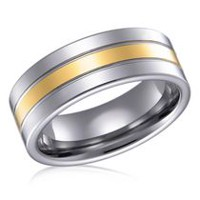 Men's Tungsten 8mm Polished Gold Plated Ring 9