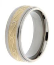 "Men's Titanium 8mm ""Swirl"" Gold Plated Ring 11"