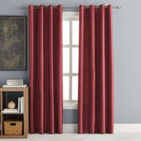 "hometrends 63"" Faux Silk Room Darkening Grommet Window Panel Red 84"""