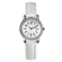 Fashion Watches Women's Dress 3 Hand Watch with Glitz Details and White Strap