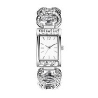 Fashion Watches Women's Dress Silver Rectangle 3 Hand Watch with Glitz Details