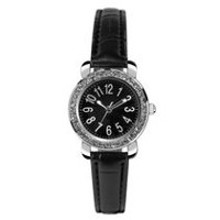 Fashion Watches Women's Dress 3 Hand Watch with Glitz Details and Black Strap