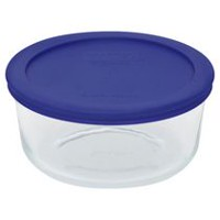 Pyrex® 4-Cup Round Glass Container with Blue Plastic Cover