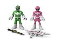 Figurines Armure de combat Power Rangers Imaginext de Fisher-Price - Ranger vert et Ranger rose
