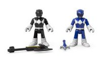 Figurines Armure de combat Power Rangers Imaginext de Fisher-Price - Ranger bleu et Ranger noir
