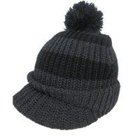 George Boys' Striped Peak Toque with Pom Pom Black