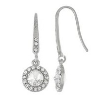 Women's White Halo Drop Earring