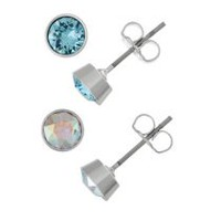 Women's Aurora Borealis and Light Blue Crystal Stud Earring Set