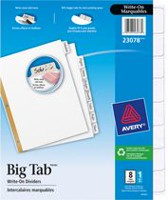 Avery® Big Tab™ Write-On Dividers 23078, 8-Tab Set