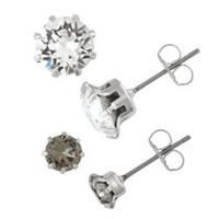 Women's Black Diamond and Clear Crystal Stud Earring Set