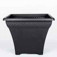 "Integrated Plastics 14"" Square Decorative Black Planter"