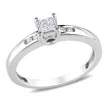 Miabella 1/8 CT TDW Princess and Round Cut Diamond Engagement Ring in Sterling Silver (G-H; I2-I3) 7