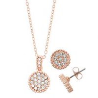 Women's Circle Crystal Bead Trim Necklace and Earring Set