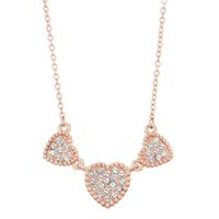Women's Triple Heart Pave Shapes Necklace