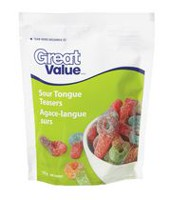 Bonbons agace-langue surs de Great Value en sachet