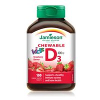 Jamieson Kids Chewable Vitamin D 400 IU Strawberry Tablets