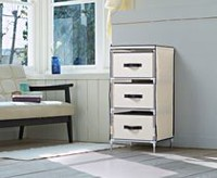 Homestar Beige Fabric Dresser with 3 Drawers