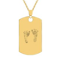 14kt Gold Plated Sterling Silver Footprint Dogtag Pendant